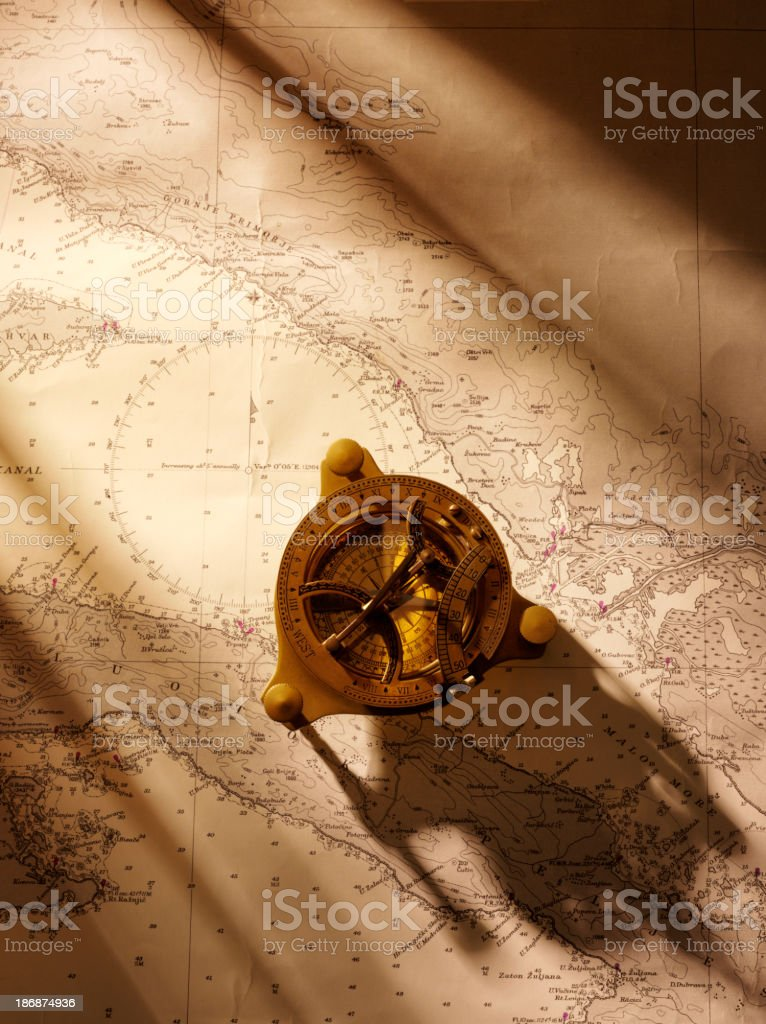 Chart Navigation and Brass Compass stock photo
