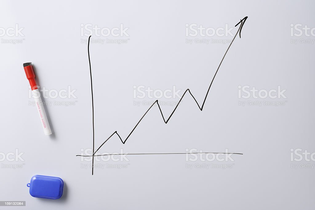 Chart of a stock market on a whiteboard stock photo