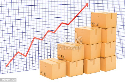 istock Chart of increasing exportation and shipping, growing chart. 3D rendering 960604328
