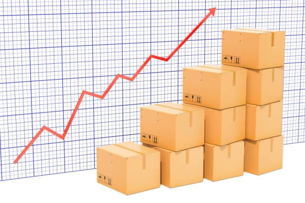 輸出の増加や配送、成長グラフのグラフ。3 D レンダリング ストックフォト