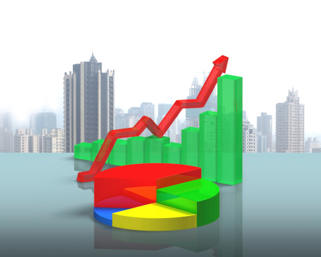 486439381 istock photo 3D chart on green glass table 484264059