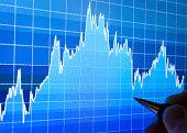Market Analyze - Closeup on LCD screen.