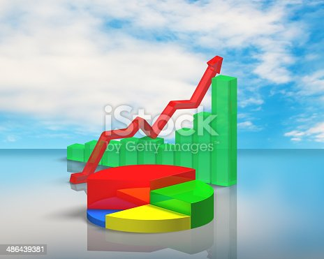 istock 3D chart on sky reflection table 486439381