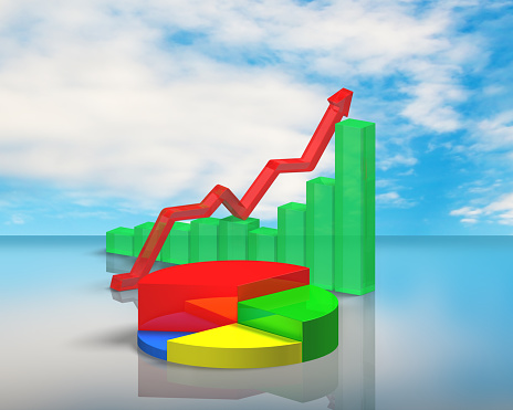 486439381 istock photo 3D chart on sky reflection table 486439381