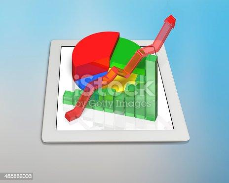 486439381istockphoto 3D chart on tablet 485886003