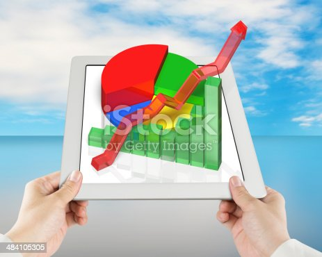 486439381istockphoto 3D chart on tablet with hand holding 484105305
