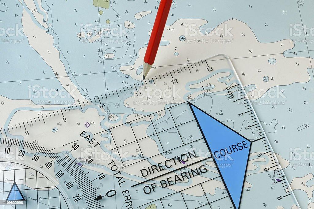 Chart, plotter and pencil navigation equipment stock photo