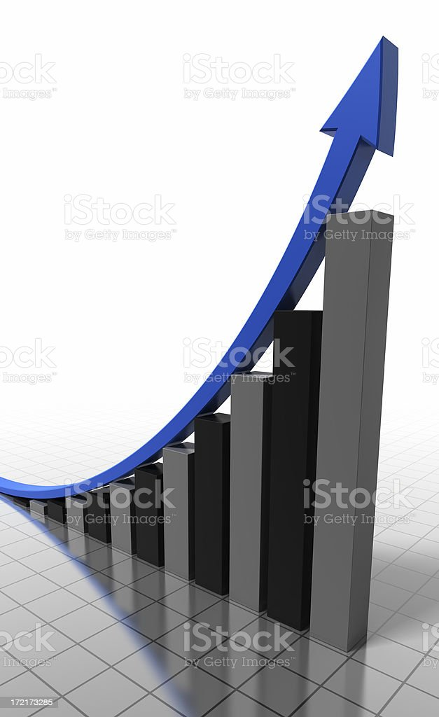 A 3D chart showing exponential growth royalty-free stock photo