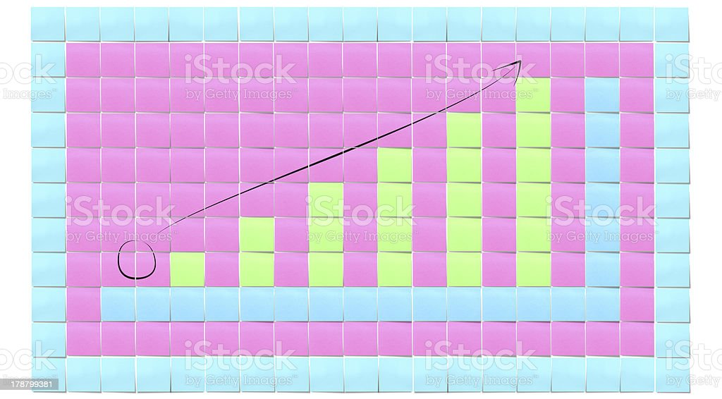 chart up created by reminder note stock photo