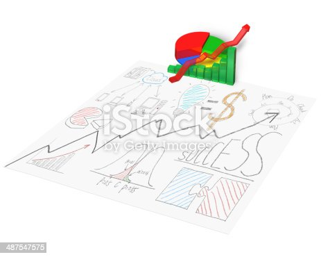 486439381istockphoto 3D chart with business doodles on paper 487547575