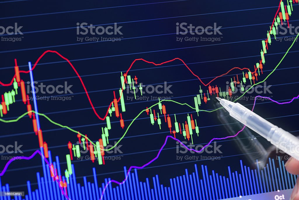 A chart with fluctuations of the stock market royalty-free stock photo