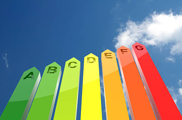 chart with grades of energy efficiency against a blue sky - energy performance certificate stock photos and pictures