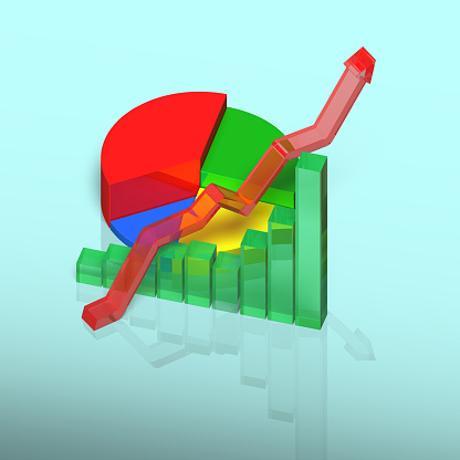 486439381 istock photo 3D chart with growing arrow on table 482970963