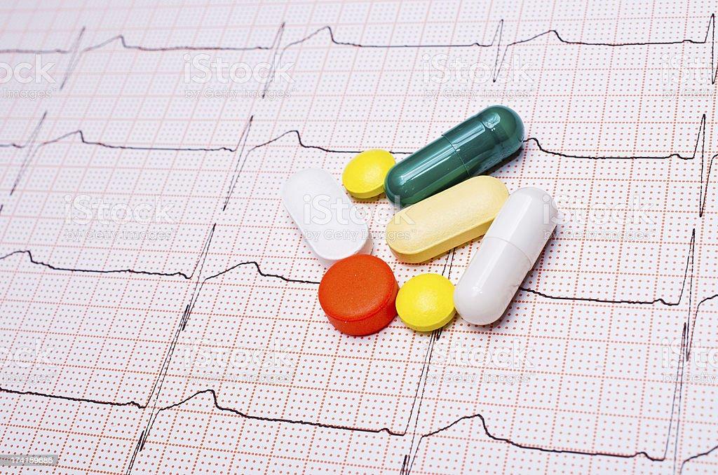 EKG chart with pills royalty-free stock photo