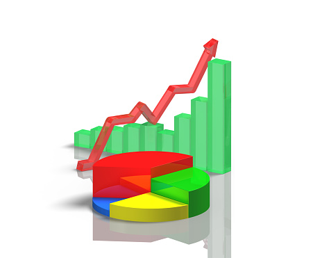 istock 3D chart with reflection on table 486087321