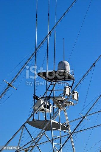 Charter fishing boat flying bridge background