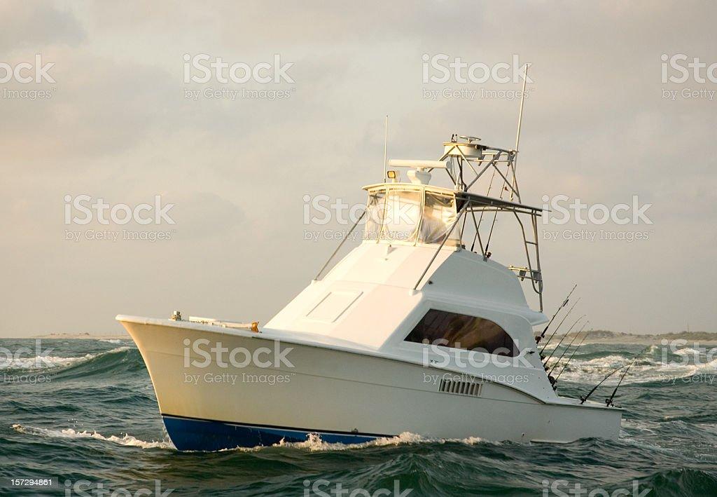 Charter Fishing Boat Sunrise. royalty-free stock photo