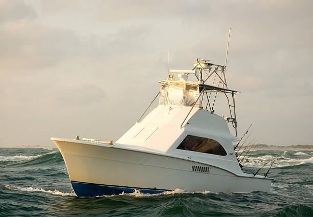 Charter Fishing Boat Sunrise. stock photo