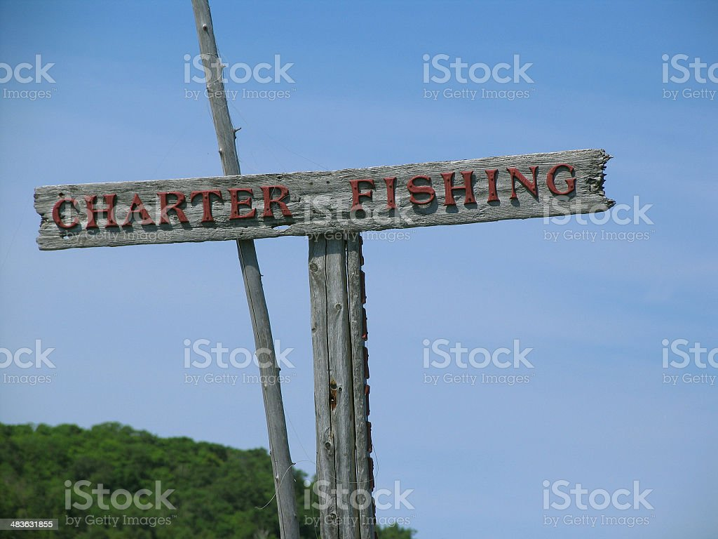 Charter Fishing Sign royalty-free stock photo