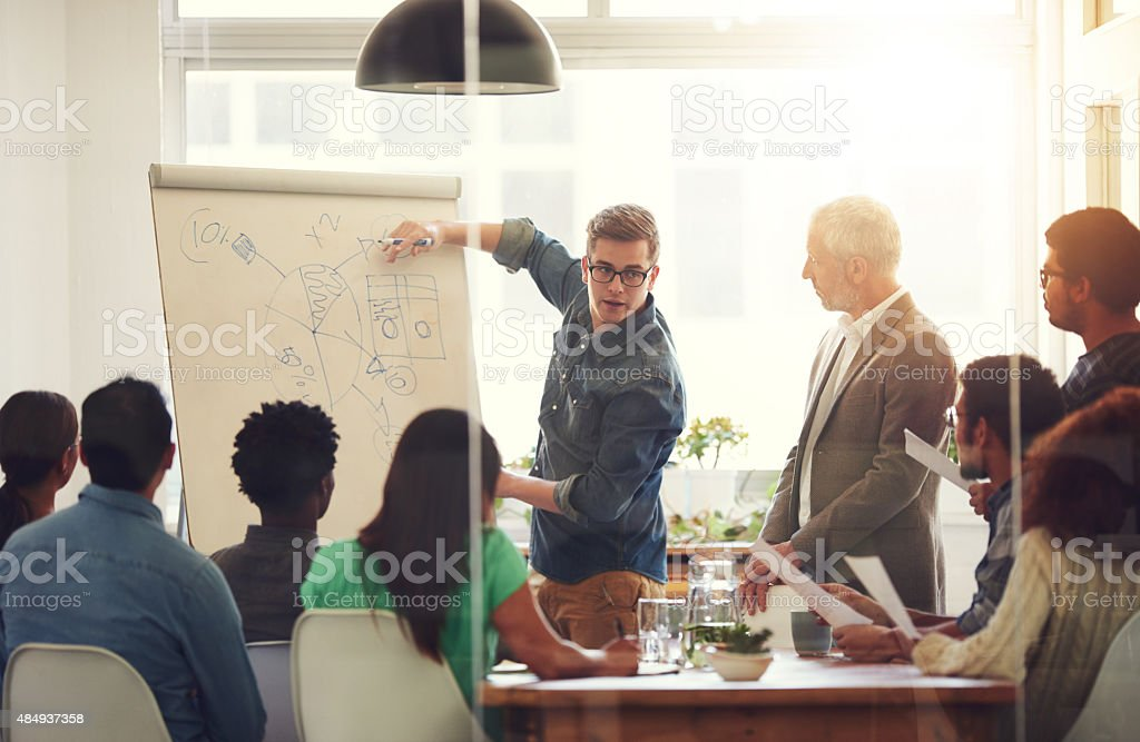 Charting their successes stock photo