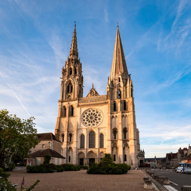 Chartres Cathedral at sunset stock photo