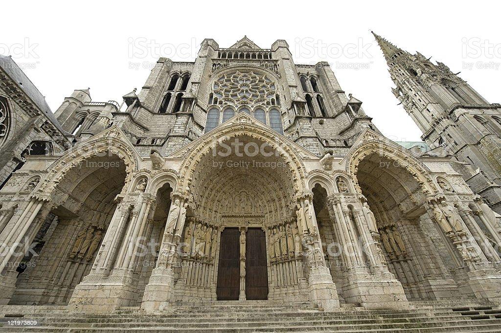 Chartres - Cathedral exterior, facade stock photo