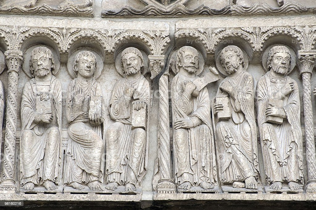 Chartres (France) - Cathedral exterior, statue closeup royalty-free stock photo