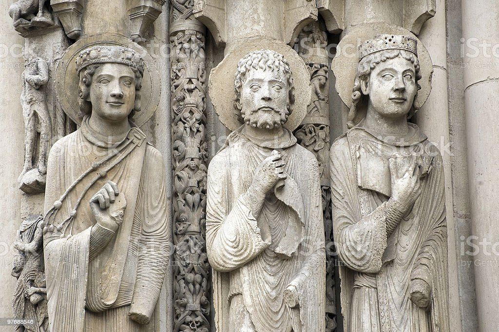 Chartres (France) - Cathedral exterior, statues closeup stock photo