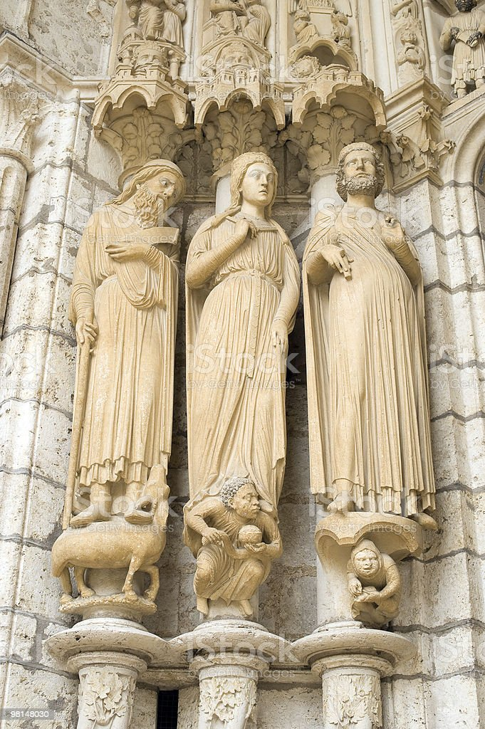 Chartres (France) - Cathedral exterior, statues closeup royalty-free stock photo