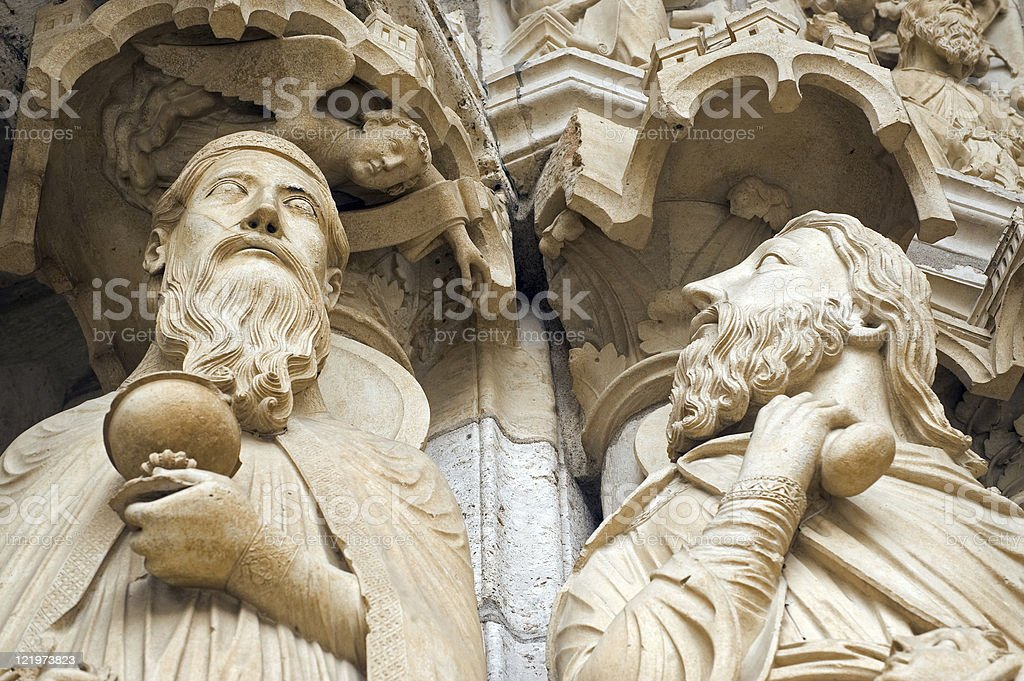 Chartres - Cathedral exterior, statues (detail) stock photo