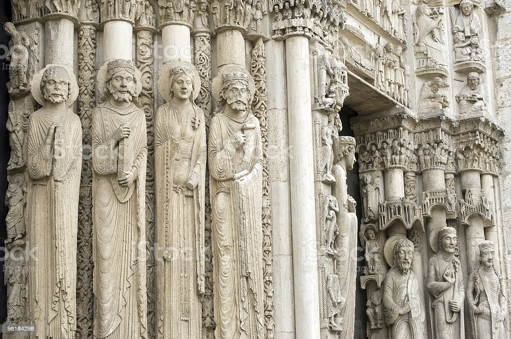 Chartres (France) - Cathedral exterior, statues royalty-free stock photo