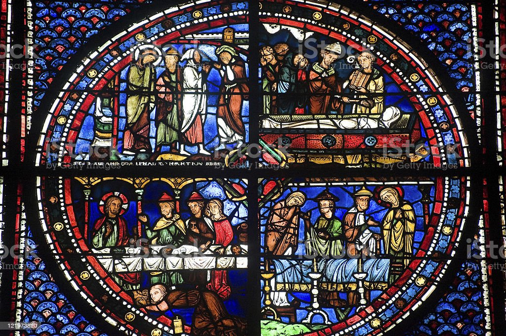 Chartres (France), Cathedral interior, stained glass window stock photo