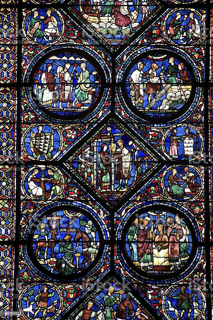 Chartres (France) - Cathedral interior: stained glass window royalty-free stock photo