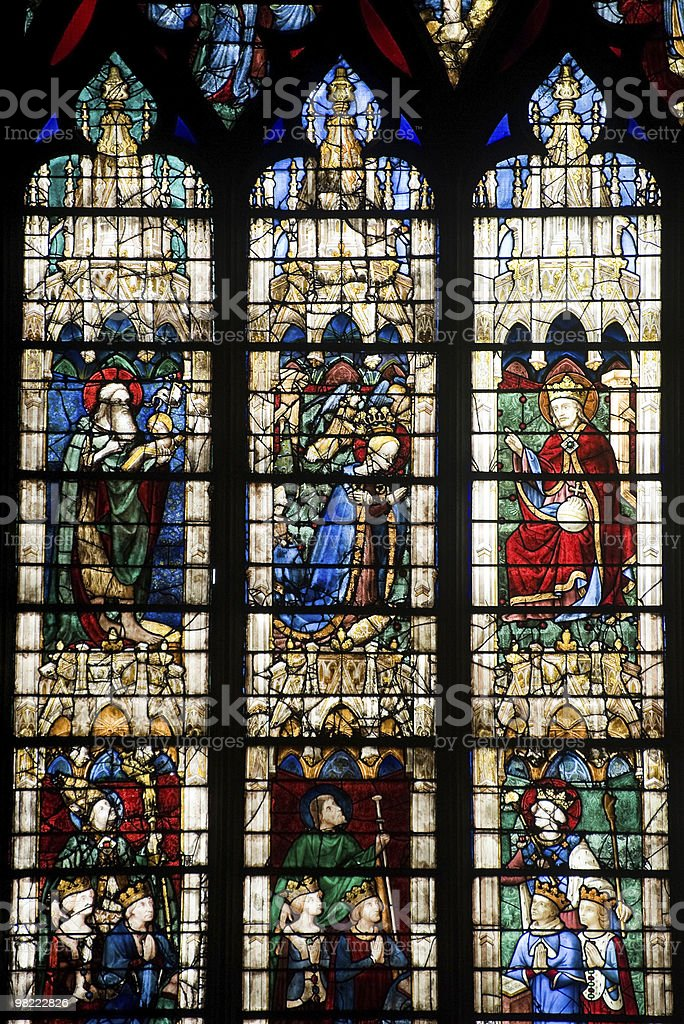 Chartres (France) - Cathedral interior: stained glass window stock photo
