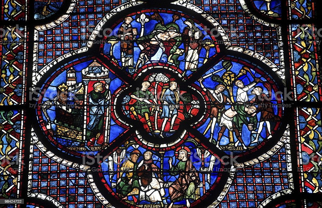 Chartres (France) - Cathedral interior, stained glass window stock photo