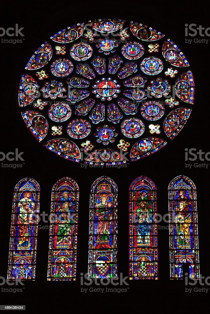 Chartres Cathedral Rosette Stained Glass (Interior), France stock photo