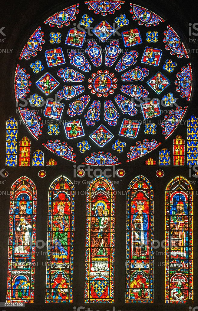 Chartres Cathedral Stained Glass stock photo