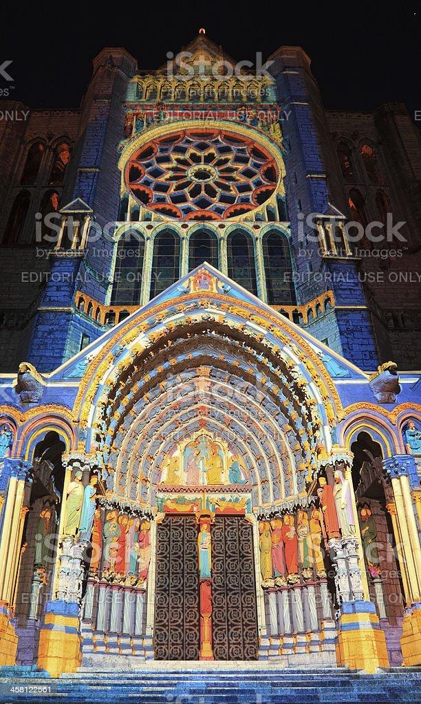 Chartres illumination stock photo