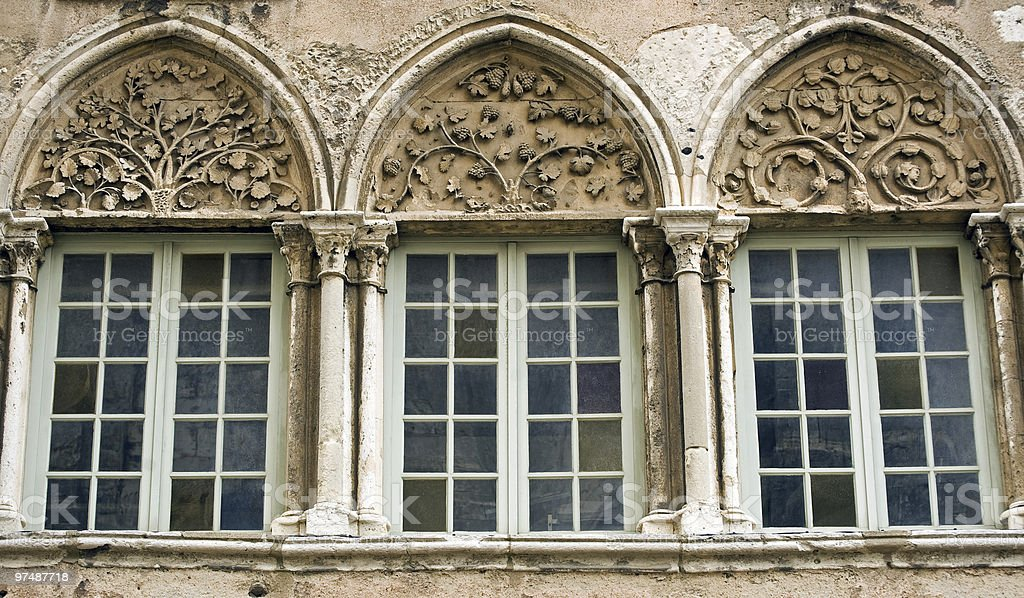 Chartres (France), Three windows of gothic palace royalty-free stock photo