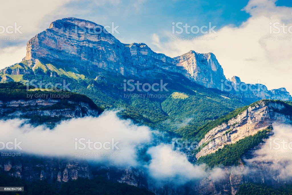Chartreuse Mountains seen from Grenoble stock photo