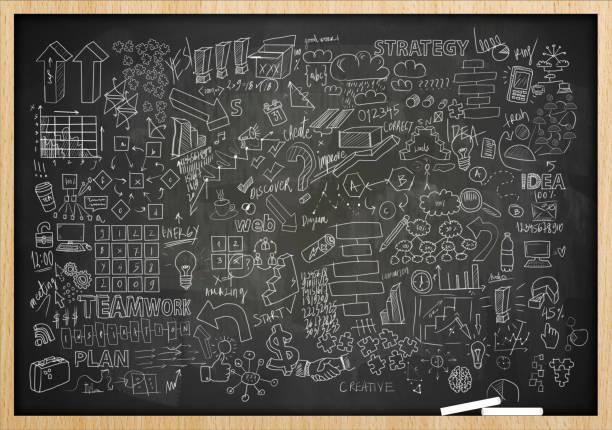 Charts and diagrams on blackboard / Blackboard concept (Click for more) stock photo
