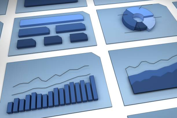 3D charts and diagrams stock photo