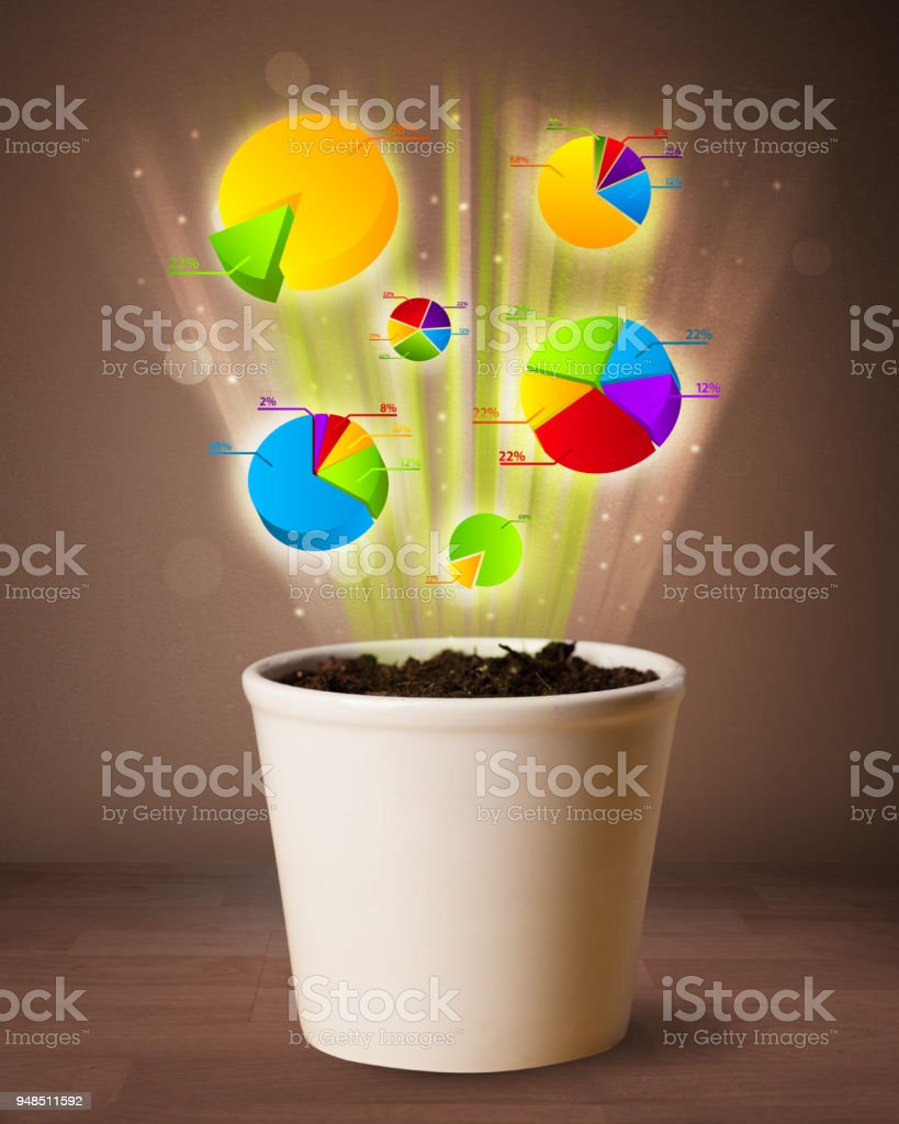 Charts coming out from flowerpot stock photo