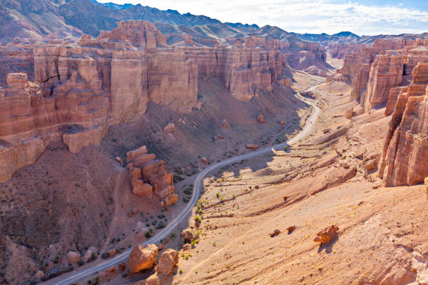 Charyn Canyon and its geological formations, in Kazakhstan Rock formations in the Charyn Canyon, in Kazakhstan silk road stock pictures, royalty-free photos & images