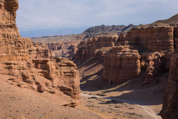 charyn canyon in almaty region of kazakhstan.beautiful mountain landscape. - country geographic area stock photos and pictures