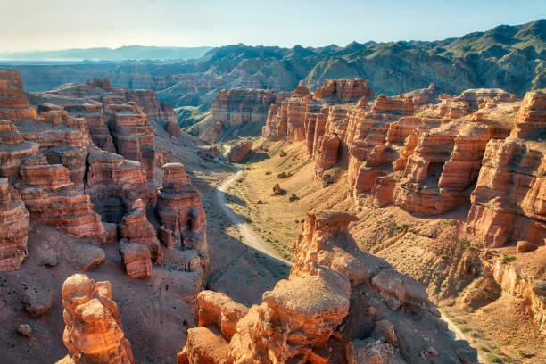 Charyn Canyon in South East Kazakhstan, taken in August 2018 taken in hdr stock photo