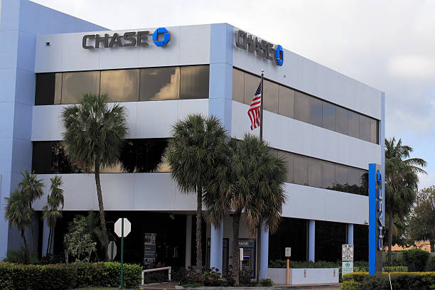 Chase Bank Signs on Office Building stock photo