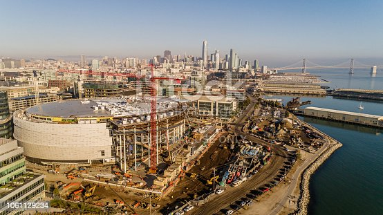 San Francisco, California, USA - October 20, 2018: Aerial view of the Chase Center under construction in San Francisco California. The 19,000 seat stadium is set to open in the 2019-2020 season hosting the Golden State Warriors NBA basketball team