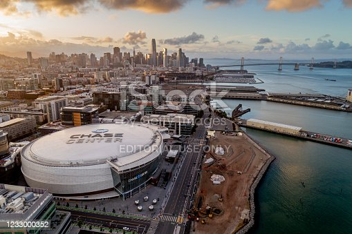 San Francisco California, USA - May 18, 2020: Sunset aerial view of the Chase Center, home of the Golden State Warriors basketball team.
