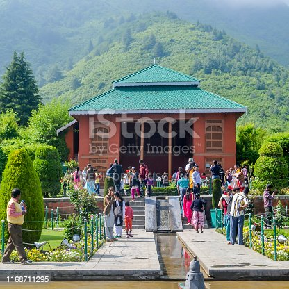 Chashme Shahi Mughal gardens, Dal Lake, Srinagar Kashmir India July 2018 - Chashma i Shahi or Royal Spring is one of the beautiful Mughal garden surrounded by Zabarwan Hill Range of Himalayan Mountain